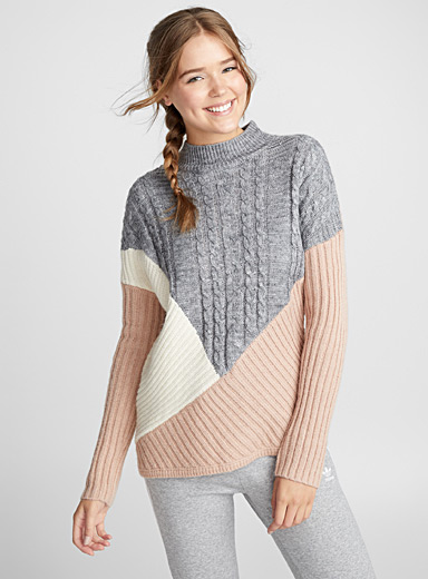 Patchwork knit mock-neck sweater