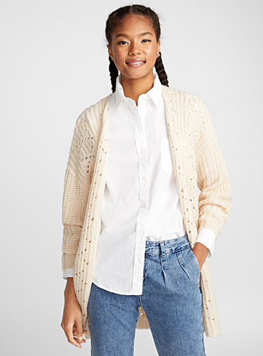 Wool and mohair openwork cardigan
