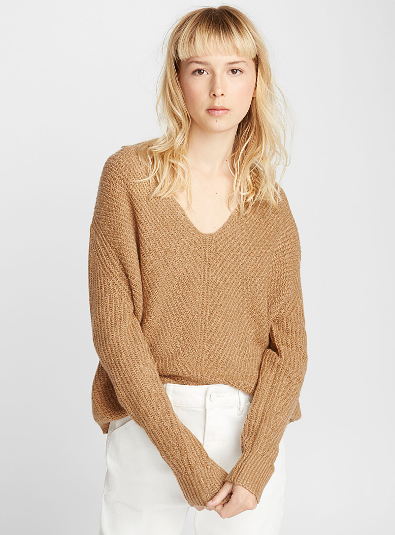 Loose V-neck sweater - Sweaters - Honey