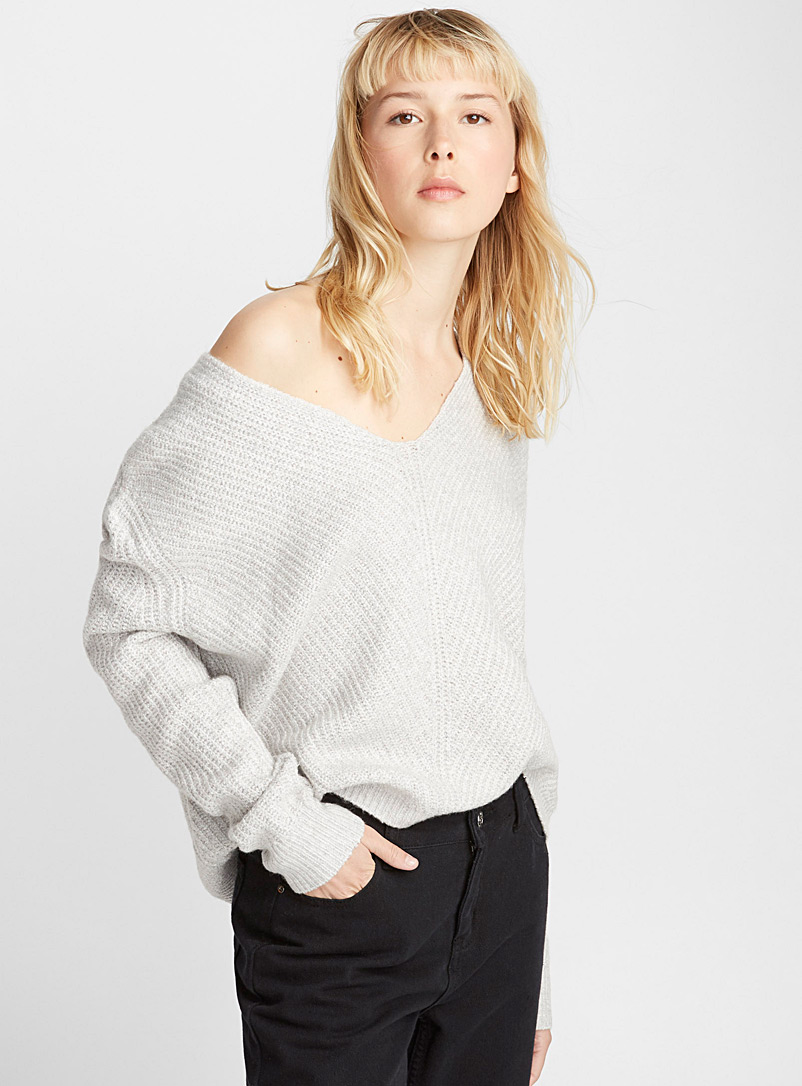 Loose V-neck sweater - Sweaters - Light Grey