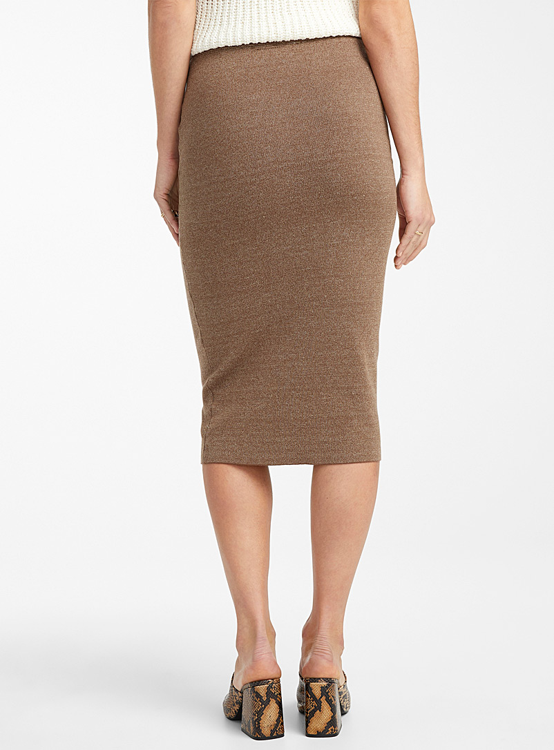 Heather knit pencil skirt - Midi - Patterned Brown