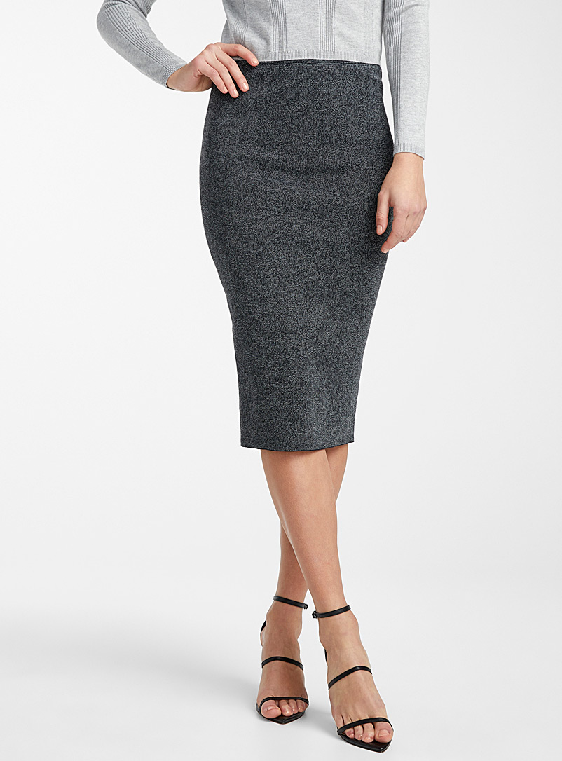 Ic?ne Grey Heather knit pencil skirt for women