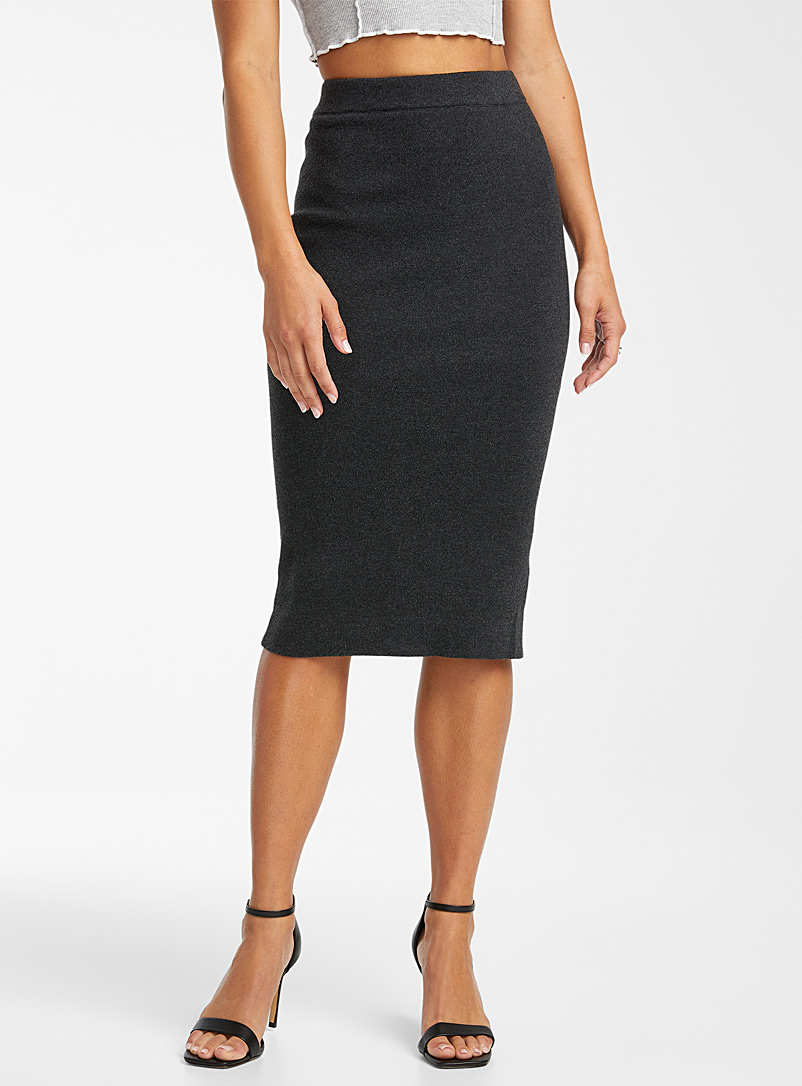 Icône Sand Heather knit pencil skirt for women