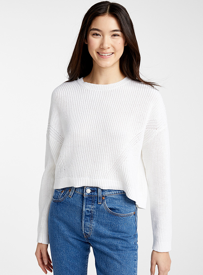 Twik Ivory White Ribbed loose cropped sweater for women