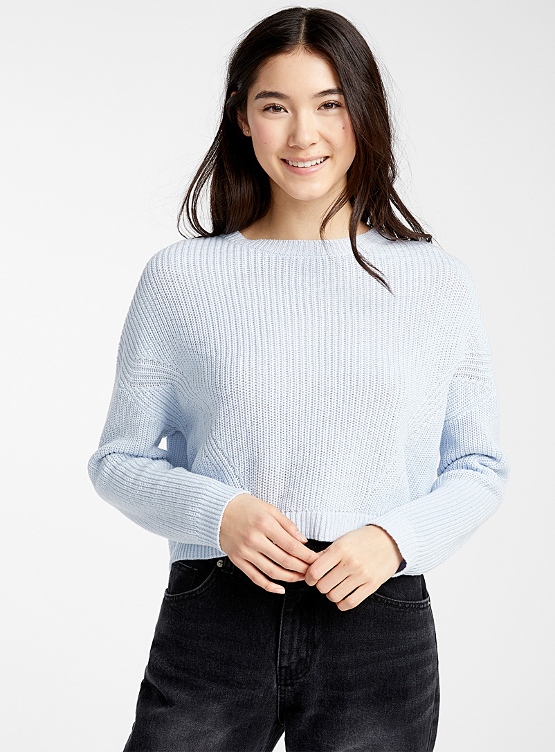 Twik Baby Blue Ribbed loose cropped sweater for women