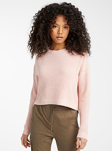 Ribbed loose cropped sweater