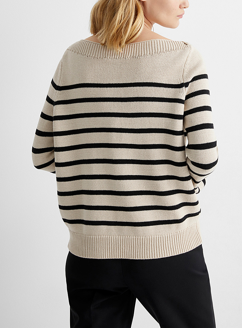 Contemporaine Patterned Ecru Boat-neck sailor sweater for women