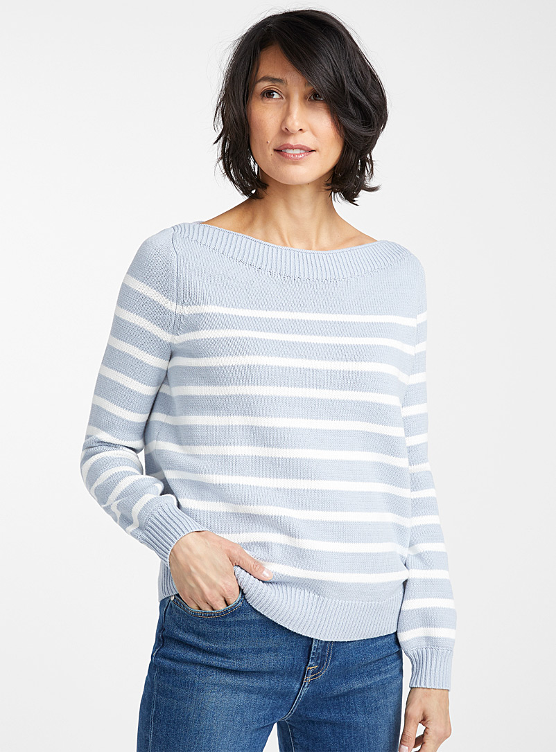 Contemporaine Patterned Blue Boat-neck sailor sweater for women