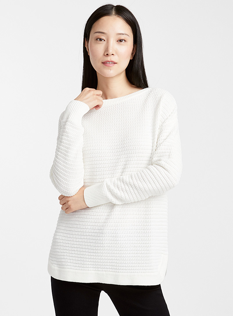 Loose basketweave knit sweater - Sweaters - Ivory White