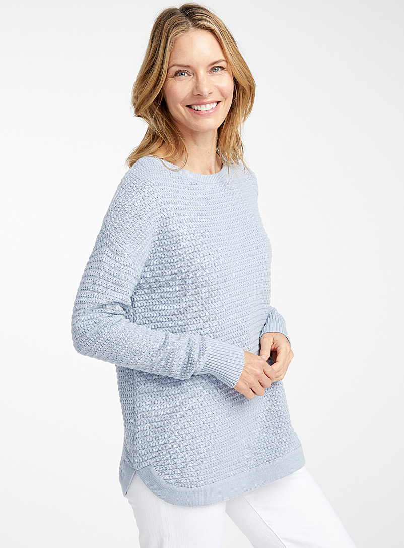 Contemporaine Baby Blue Loose basketweave-knit sweater for women