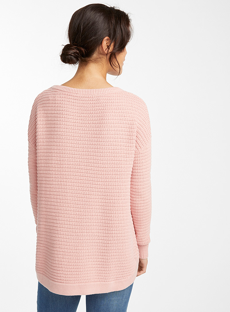 Loose basketweave knit sweater - Sweaters - Pink