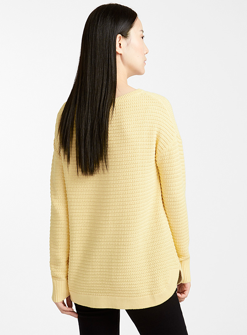 Loose basketweave knit sweater - Sweaters - Light Yellow