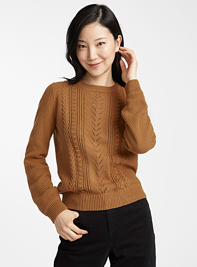 Cable and openwork sweater