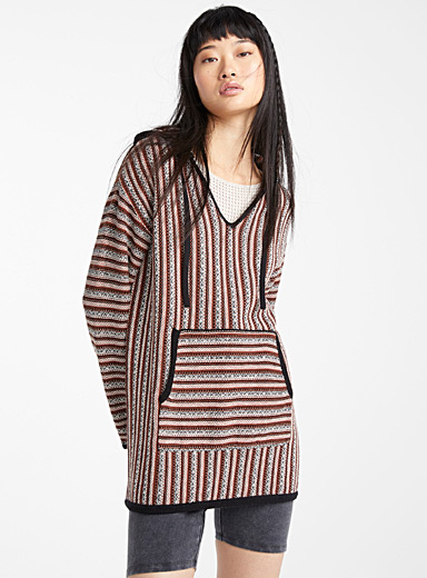 Twik Assorted brown Striped recycled cotton Baja sweater for women
