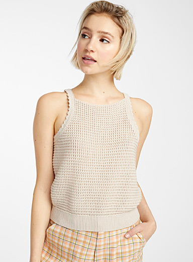 Openwork recycled cotton knit cami