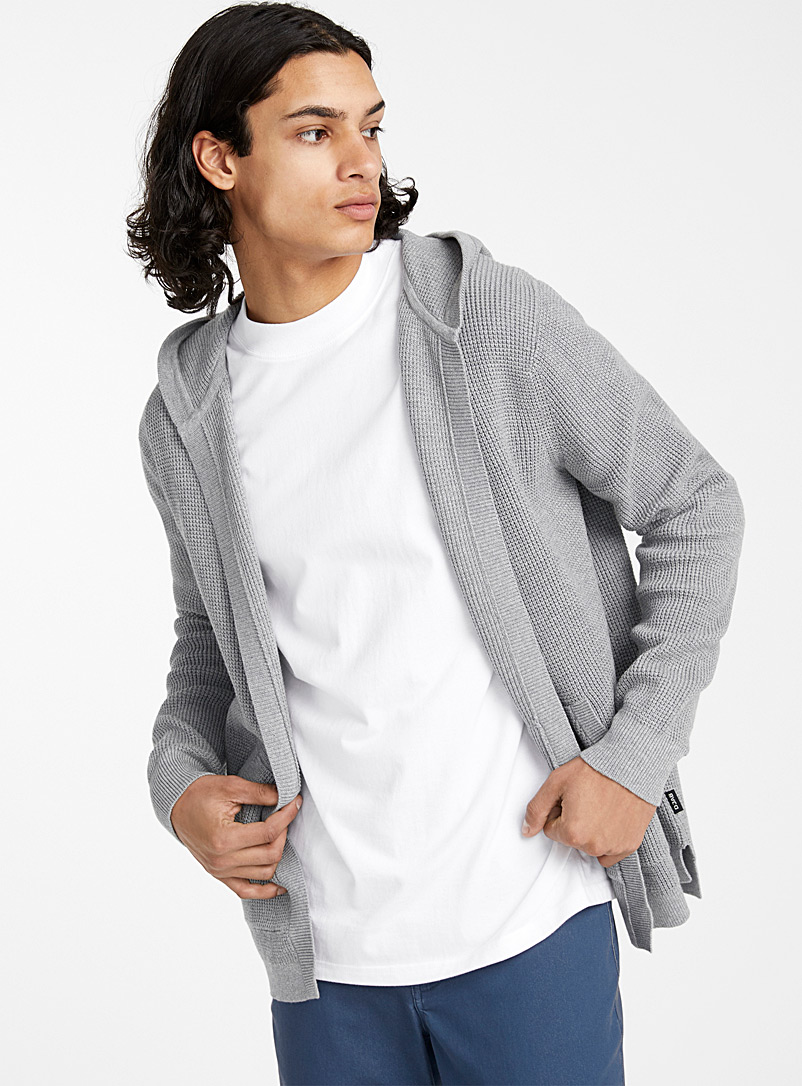 Djab Light Grey Waffled organic cotton hooded cardigan for men