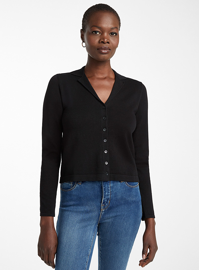 Contemporaine Black Recycled cotton notched collar cardigan for women