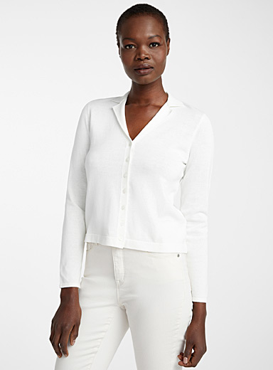 Recycled cotton notched collar cardigan