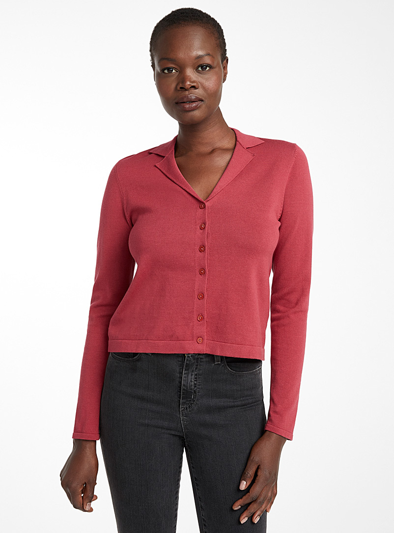 Contemporaine Medium Pink Recycled cotton notched collar cardigan for women