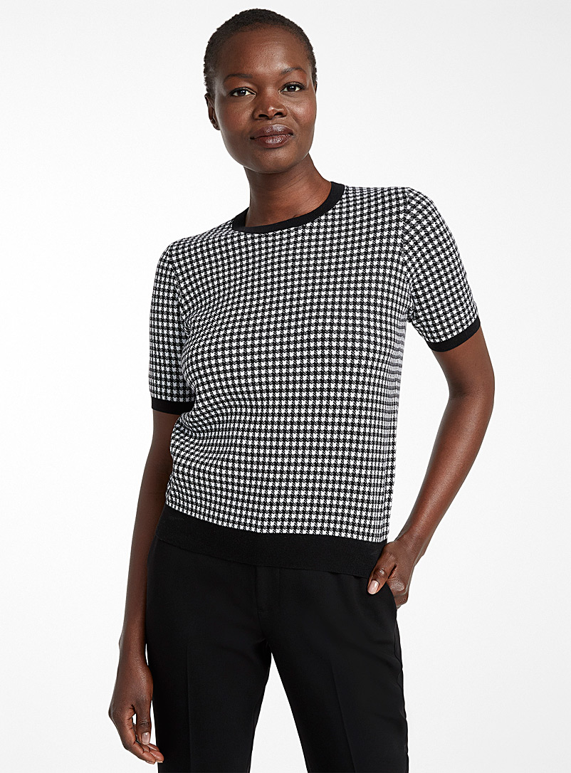 Recycled cotton gingham sweater - Sweaters - Black