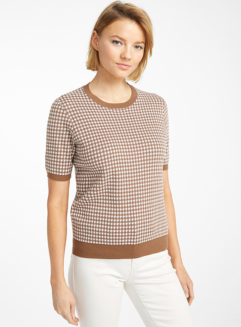 Contemporaine Medium Brown Recycled cotton gingham sweater for women