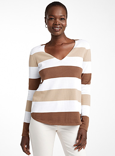 Recycled cotton block stripe sweater