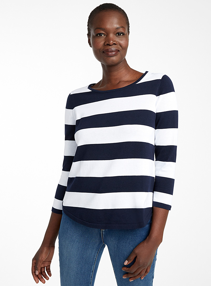 Contemporaine Marine Blue Recycled cotton two-tone stripe sweater for women