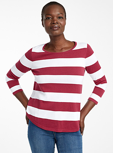 Recycled cotton two-tone stripe sweater