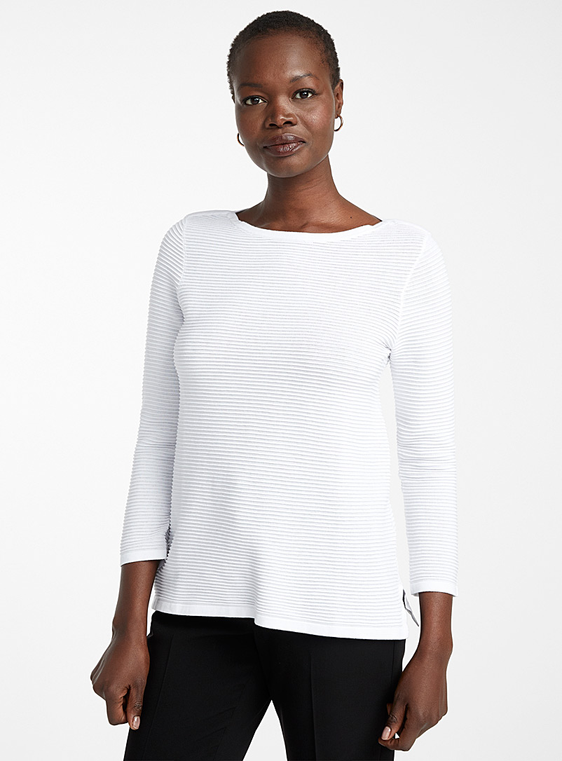 Contemporaine White Ottoman knit boat-neck sweater for women