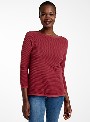 Contemporaine Medium Pink Ottoman knit boat-neck sweater for women
