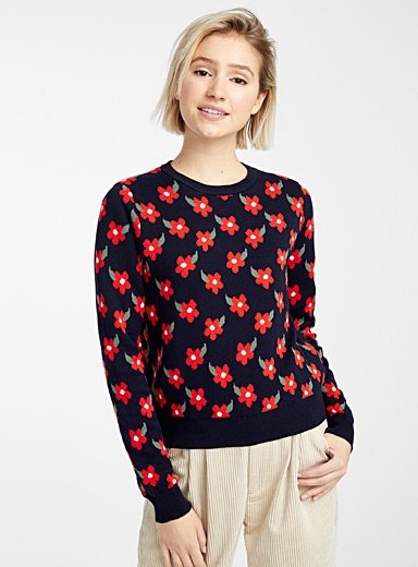 Recycled cotton floral sweater