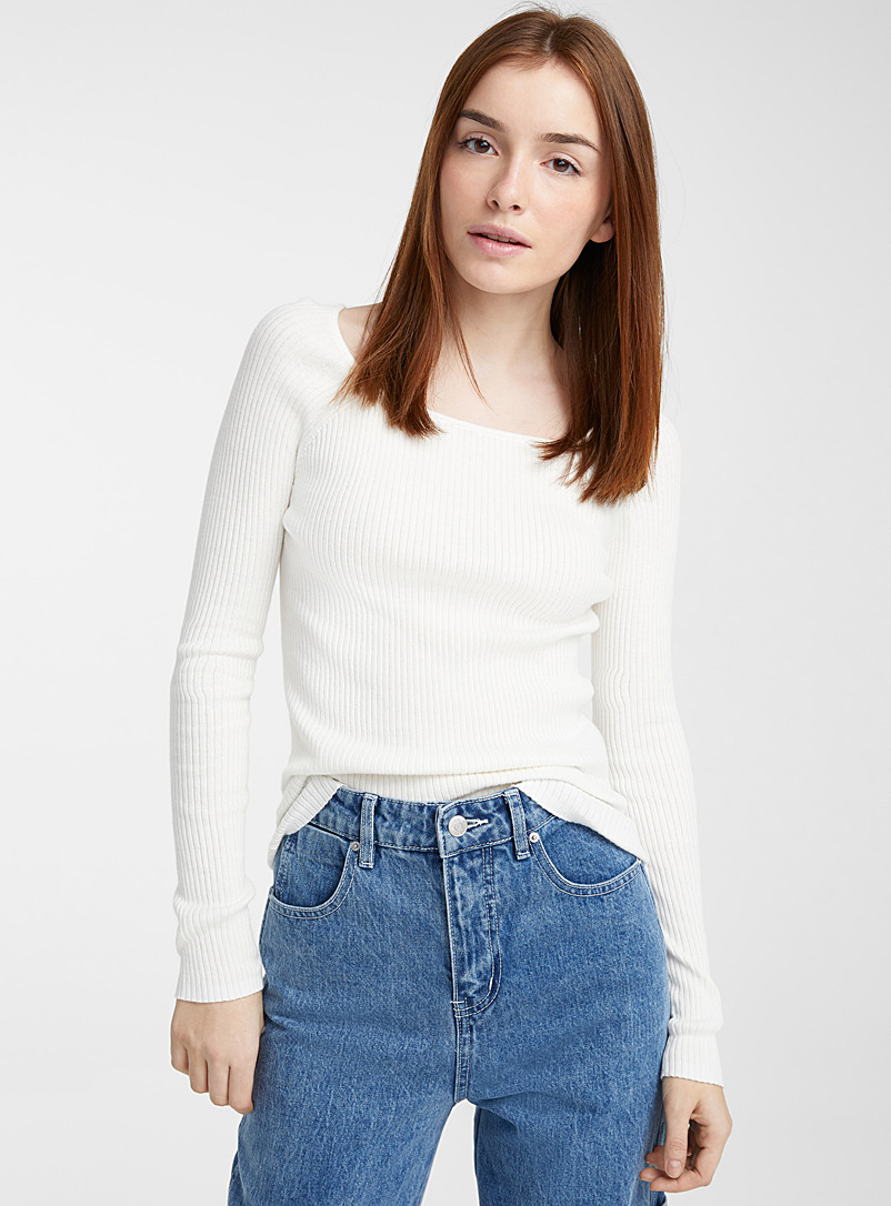 Twik Ivory White Recycled cotton ribbed square-neck sweater for women
