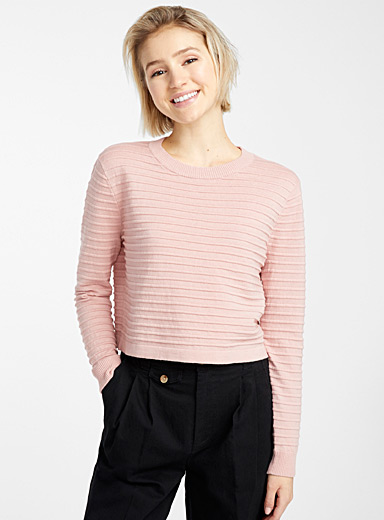 Recycled cotton ottoman cropped sweater