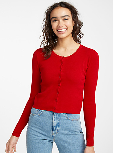 Twik Red Recycled cotton ruffle cardigan for women