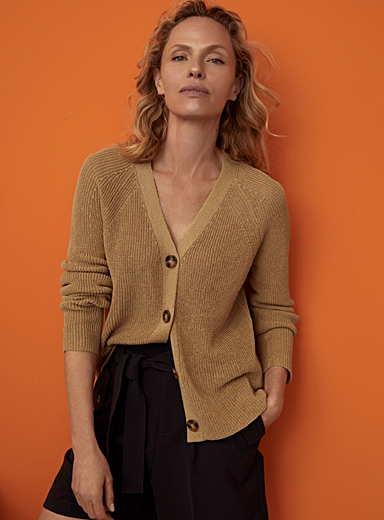 Fluid button-up ribbed cardigan
