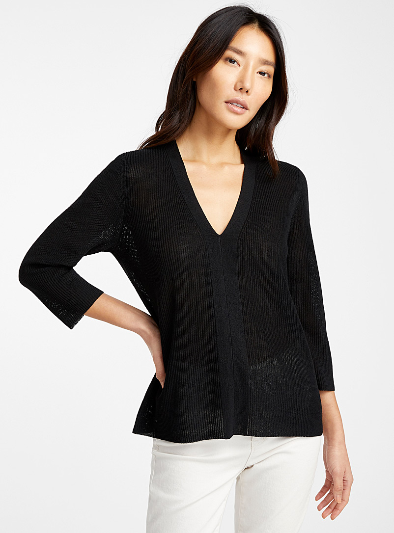 Contemporaine Black Fluid ribbed sweater for women