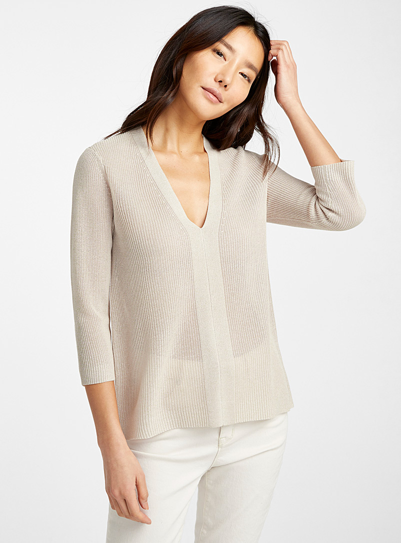 Contemporaine Sand Fluid ribbed sweater for women