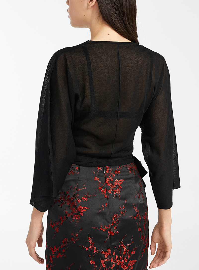 Twik Black Tie kimono cardigan for women