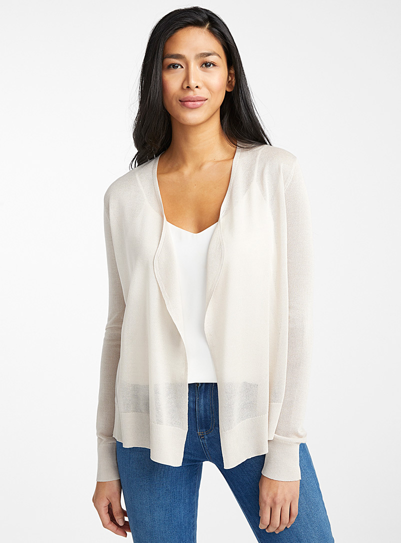 Contemporaine Cream Beige Sheer open cardigan for women