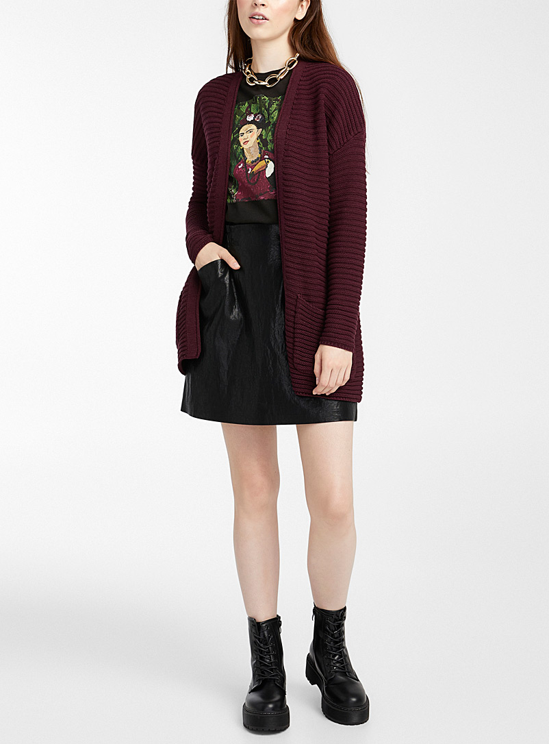 Twik Dark Crimson Ottoman cardigan for women