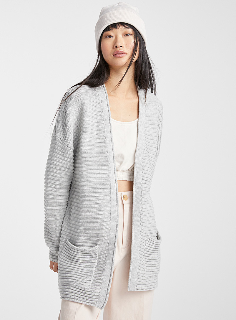 Twik Light Grey Ottoman cardigan for women