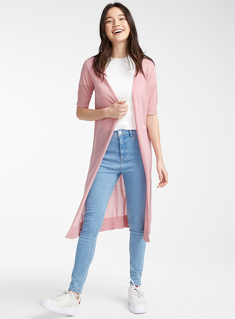 Twik Dusky Pink Minimalist long cardigan for women