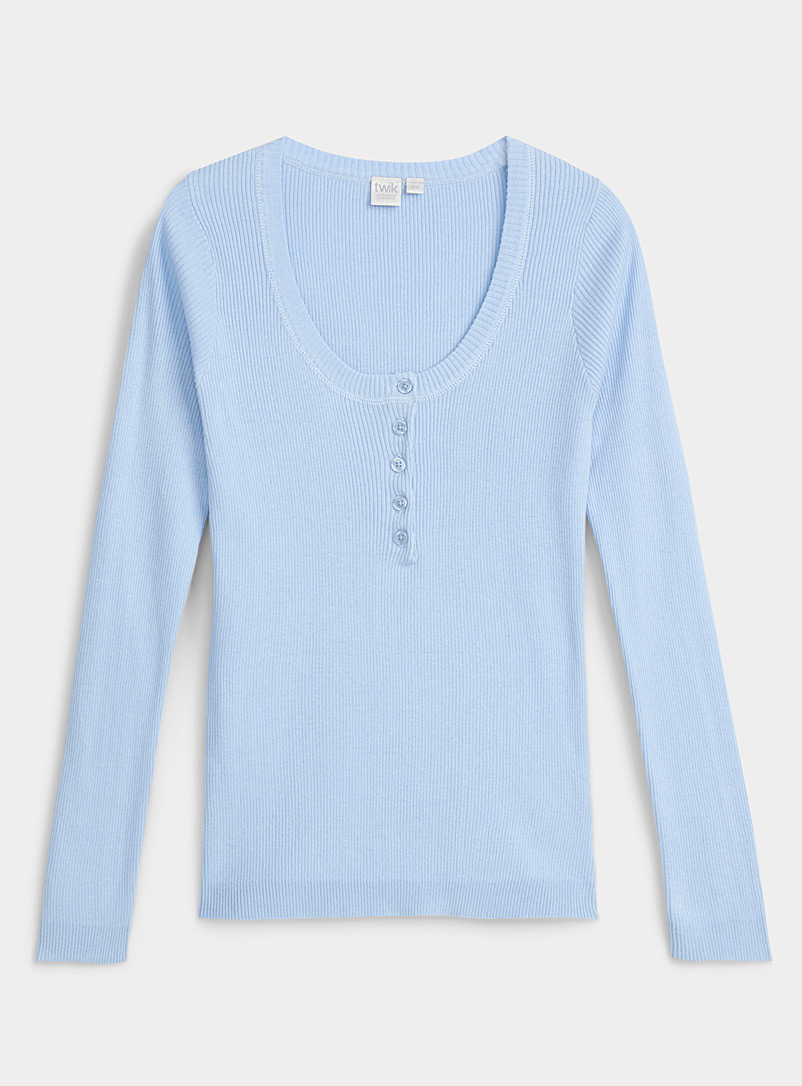 Twik Baby Blue Organic cotton fitted buttoned-collar sweater for women