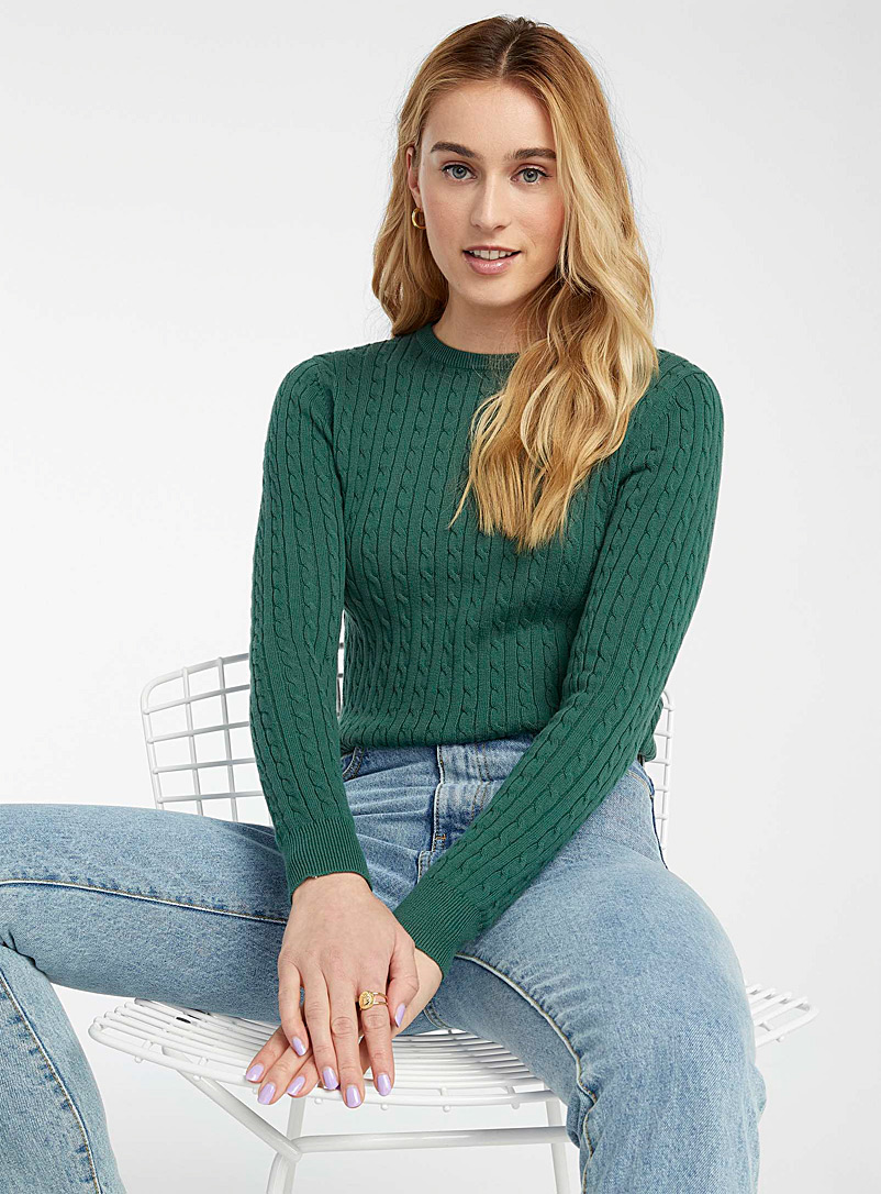 Twik Green Organic cotton cable knit sweater for women
