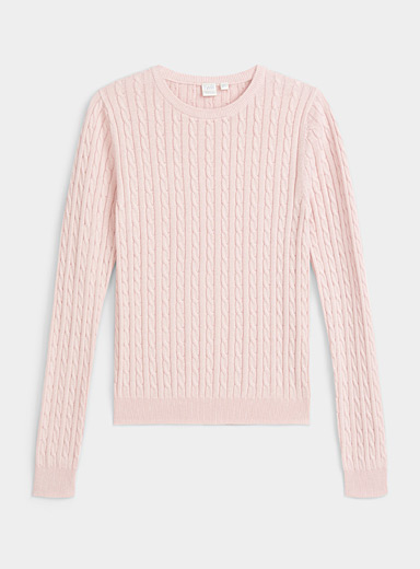 Twik Dusky Pink Organic cotton cable knit sweater for women