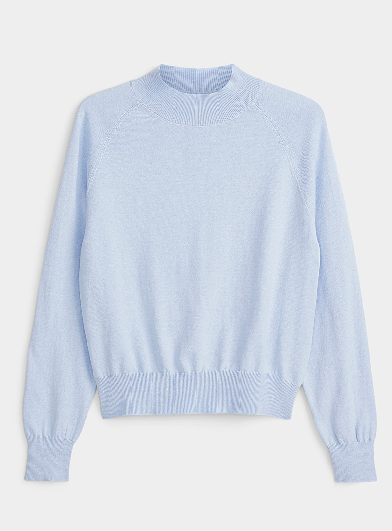 Twik Baby Blue Organic cotton ribbed mock-neck sweater for women