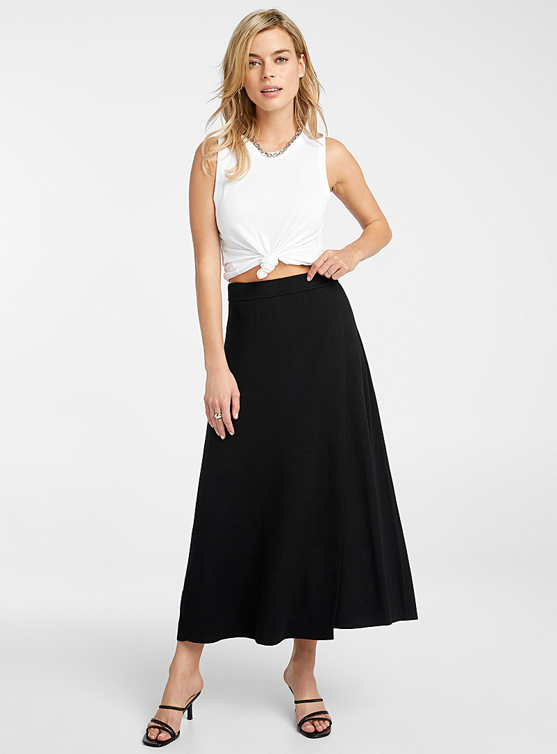 Flared crossover knit skirt