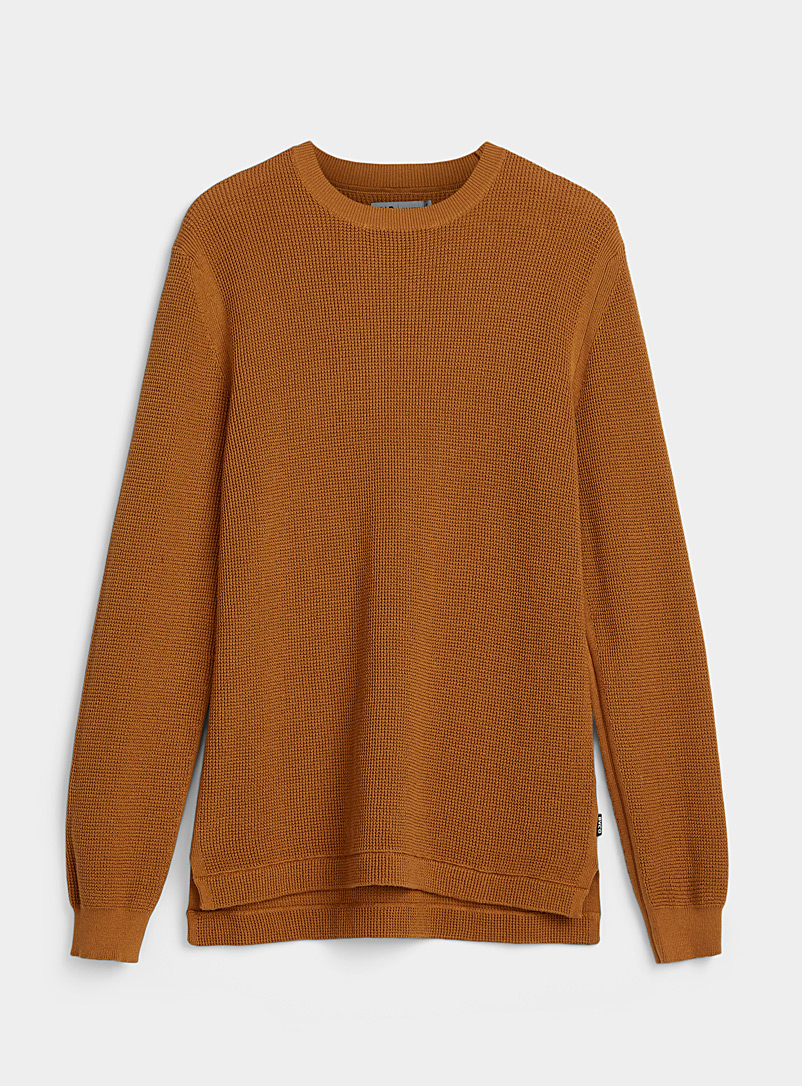 Djab Sand Longline organic cotton waffled sweater for men