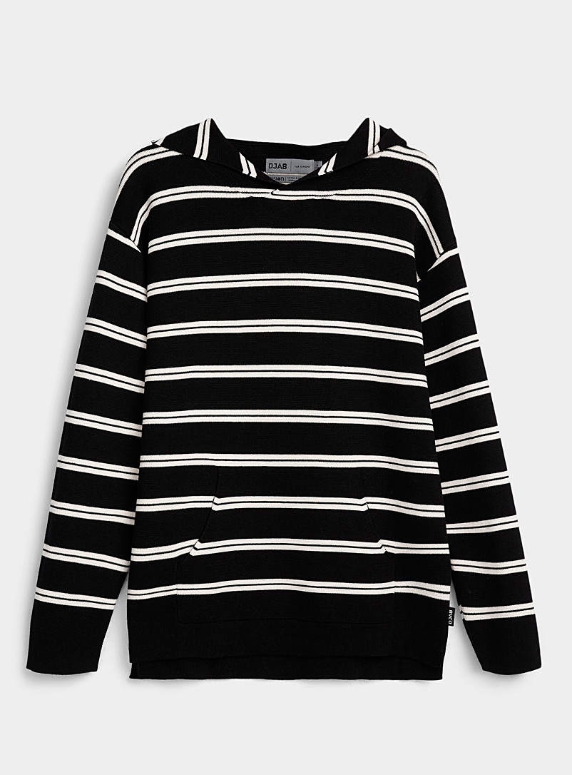 Djab Black Organic cotton striped hooded sweater for men