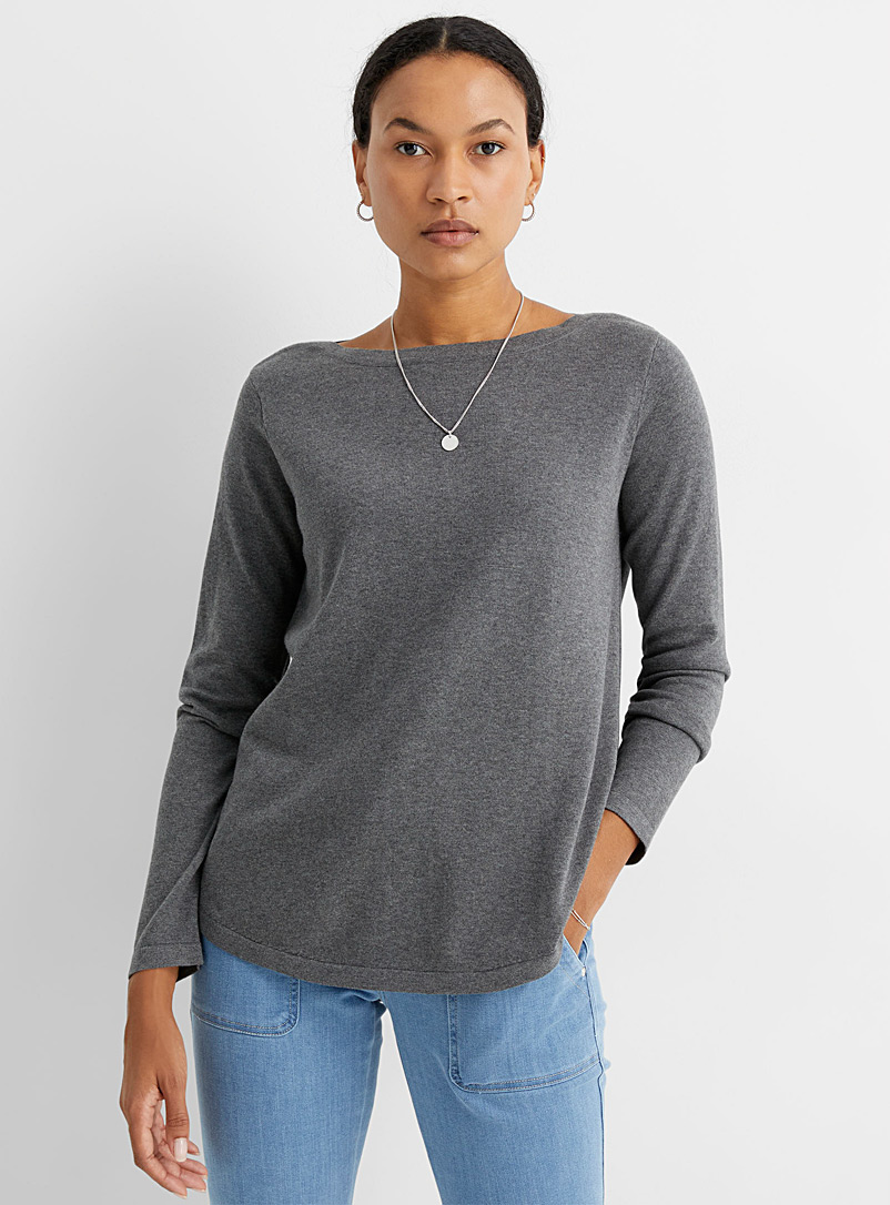Contemporaine Charcoal Rounded boat-neck sweater for women